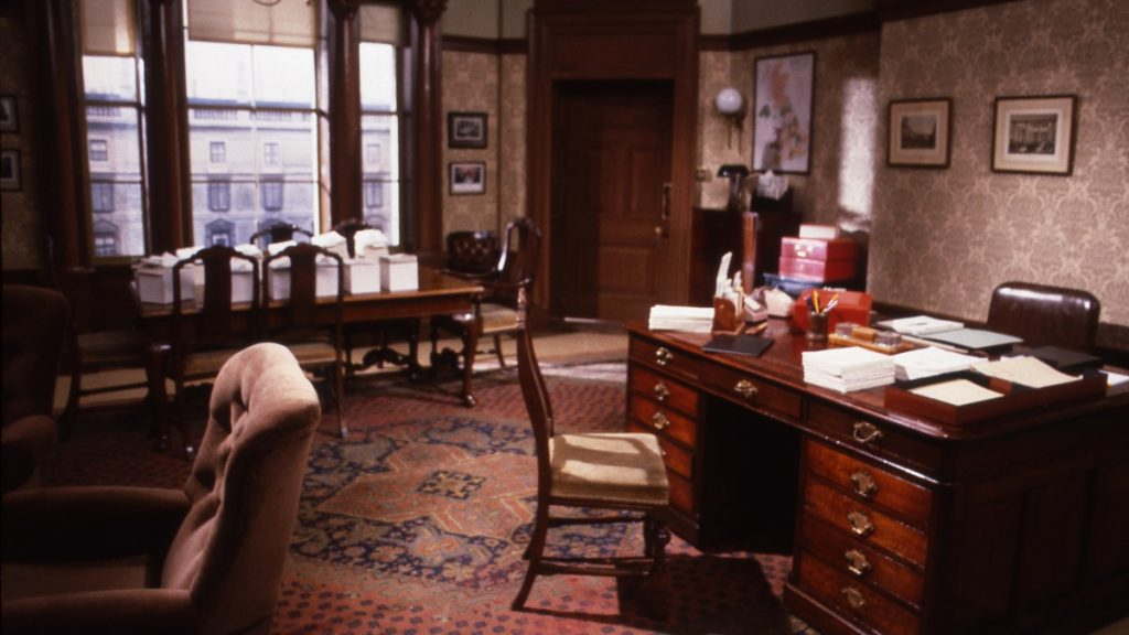 Yes Minister empty set from 1984